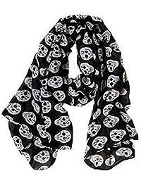 Pañuelo, bufanda Calavera negro y blanco 175x80 cm.