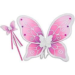 Lucy Locket – Set ali fata e bacchetta magica color argento, ali farfalla bambina, accessori costume