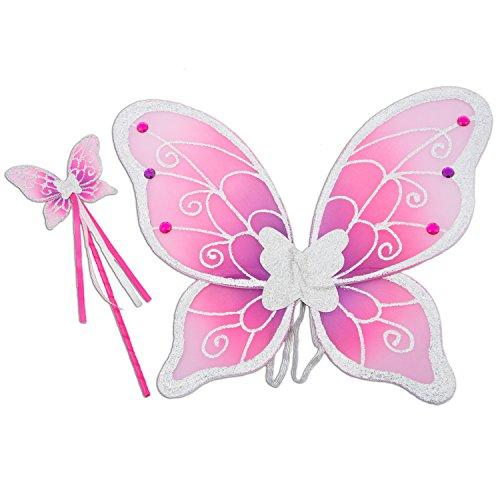 feenfluegel kinder Glitzer Elfen Flügel mit Zauberstab - Feen Kostüm Kinder - Pink und Silber - Lucy Locket