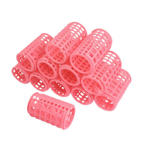 Sourcingmap Lot de 12 bigoudis en plastique Rose 7 x 4,3 cm