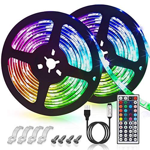 SIHECHIPH LED Stripes,3m USB LED Lichterkette,LED Bänder,LED Lichtleiste mit 44 Tasten Fernbedienung 8 Modi