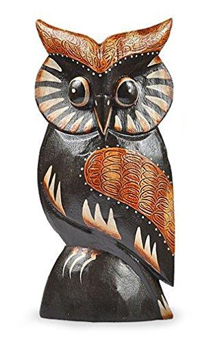 TEMPELWELT Deko Figur Eule Wula schwarz braun aus Albesia Holz, Höhe 20 cm groß, Holzfigur Uhu Kunsthandwerk aus Bali handgefertigt