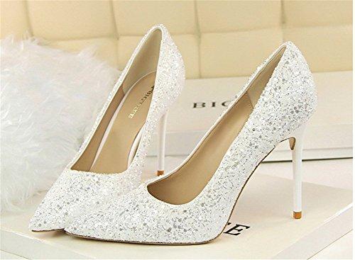 Paillette Haute Club Talon Bout Chaussure Blanc Sexy wealsex Escarpin Mode Aiguille Mariage Pointu Soirée Femme F5pwwX