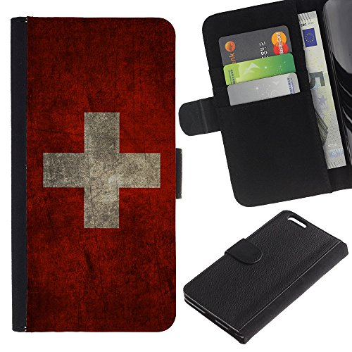"""Graphic4You Vintage Uralt Flagge Von Italien Design Brieftasche Leder Hülle Case Schutzhülle für Apple iPhone 6 Plus / 6S Plus (5.5"""") Schweiz Schweizer"""