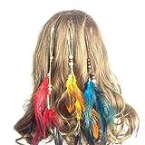Juego de 6hecho a mano Boho Hippie extensiones de pelo con clip de plumas peine horquilla tocado DIY accesorios para mujer Lady niñas