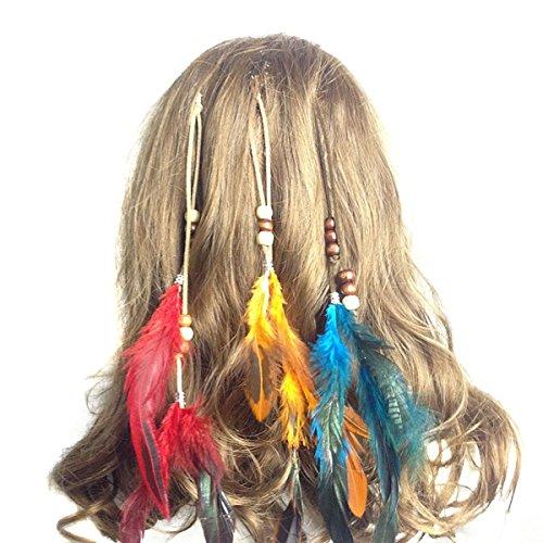 Set von 6 handgefertigten Boho Hippie Haarverlängerungen mit -
