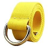 YULAND Herren Gürtel von By, Bekleidung Accessoires Belt Doppelschlinge Canvas Gürtel Männer und Frauen Studenten Liebhaber Bund (Gelb)