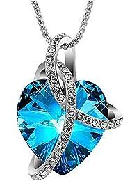 Love N Legacy 18K Gold Plated Swarovski Crystal NeckalceTitanic Blue