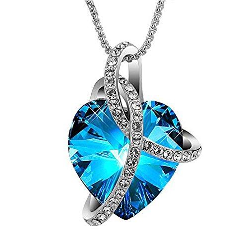 Love N Legacy Titanic Blue 18K Gold Plated Swarovski Crystal Neckalce for  Women 64d2a7f8f4