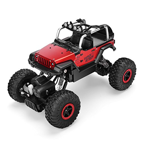 E-Young RC Cars 1/18 Remote Control Off-Road Racing Vehicles RC Monster Truck 2.4GHz 4WD Radio Controlled Trucks High Speed 12MPH+ Rock Crawler Electric Buggy Metal Shell with LED Light