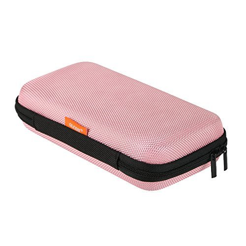 Portable Schutz Hard Eva Case für externer Akku, Handy, GPS, Festplatte, USB/Ladekabel, Tragetasche Mesh Innentasche, Reißverschluss Gehäuse N Robuste Außenseite, Universal Reise Tasche Rose -