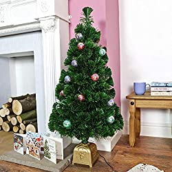 Festive Lights strombetriebener, künstlicher, tannengrüner Innen Weihnachtsbaum mit Verzierung (Bunte Kugeln) und farbwechselnder Glasfaser Beleuchtung (Fibre Optic), ca. 90cm
