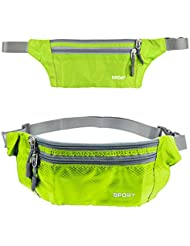 mebare (TM) venta caliente impermeable Running bolsa cinturón riñonera bolsa de cintura Fanny Pack de Camping Deportes Senderismo Zip Bolsa de cintura Pack, verde