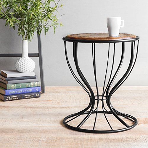 Onlineshoppee Wooden & Wrought Iron Stool/Chair ( Black, 12 x 16 inch )
