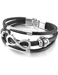 MENDINO - Pulsera de piel unisex con abalorios de plata con diseño del símbolo del infinito, color negro, incluye bolsa de regalo