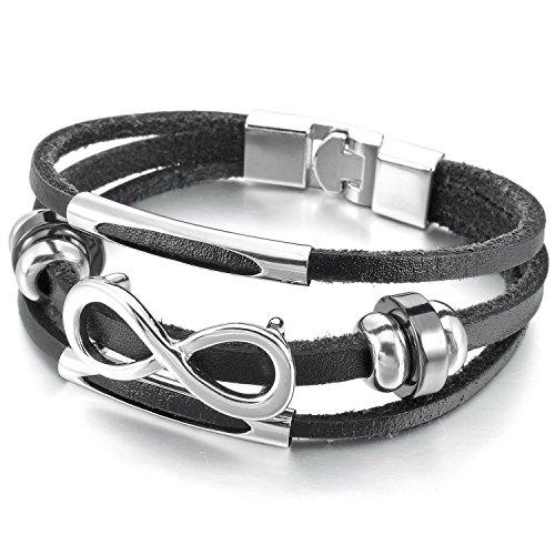 mendino Infinity Icon Hat Schnalle Manschette handgeflochtenem schwarz Legierung Echtes Leder Schmuck Armband mit 1x Samtbeutel (Armband Leder Schwarz Manschette)