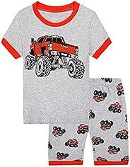MIXIDON Pijamas Dos Piezas para Niño de Verano de Manga Corta 100% Algodón, Regalos de Pijamas de Dinosaurio p