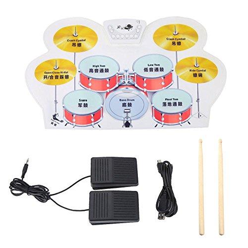 E-Drum Set Roll Up Drum Midi Drum Kit wiederaufladbare Drum Practice Pad mit Drumsticks Fußpedale für Anfänger Kinder Geschenke