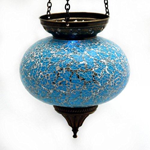 Mosaik Lampe Hängelampe Windlicht Pendelleuchte Aussenleuchte Deckenleuchte aus Glas türkis Teelichthalter Orientalisch Handarbeit dekoration - Gall&Zick
