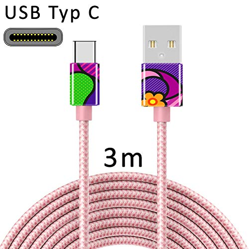 TheSmartGuard USB C Kabel USB-Typ-C Ladekabel Nylon Datenkabel mit USB-Type-C Anschluss kompatibel für Samsung S10/S9/S8, Huawei P30/P20, UVM | 3 Meter/3m Rose-Gold | Girl Pop Art Frau Bunt Lila -