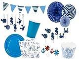 Partyset Komplettset Maritim Pastel Farbe blau 79 teilig für 12 Personen Partygeschirr Geburtstag Kindergeburtstag Teller Becher Servietten Party Deko Einweg Geschirr
