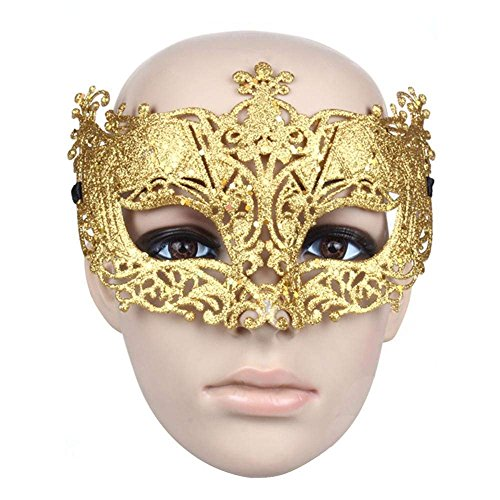 e-sunny Damen Venezianische Maske, Half Face Mask Masquerade Party Kleid Fasching Kostüm Fancy Ball Halloween Masken Fancy Kleid Eye Maske Gold