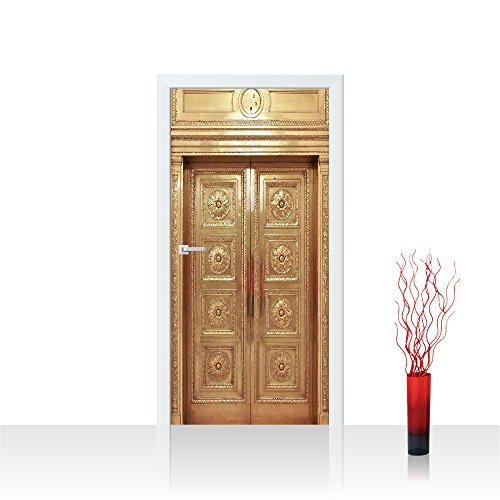Premium-aufzug (Türtapete selbstklebend 91x211 cm PREMIUM PLUS Tür Fototapete Türposter Türpanel Foto Tapete Bild - Aufzug Lift Fahrstuhl Tür Alt Messing - no. 4291)
