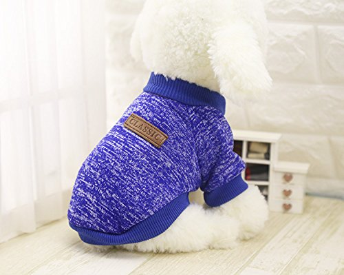 Home-deep Conditioner (Hundebekleidung Für Kleine Hunde Weiche Hund Pullover Kleidung Für Hund Sommer Chihuahua Kleidung Klassische Haustier Outfit Ropa Perro Deep Blue XL)