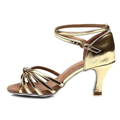 YFF Le donne di Latino del scarpe da ballo /sala da ballo Tango 5cm/7cm 11Corlors 7cm heels gold