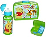 2 tlg. Set: Brotdose + Trinkflasche - Disney Winnie the Pooh Bär - incl. Namen - mit extra Einsatz - blau Brotkasten für Vesper Frühstück Brotzeitdose / Brotzeitbox - Brotbüchse Küche Essen für Mädchen Jungen Kinder Vesperdose Lunchbox