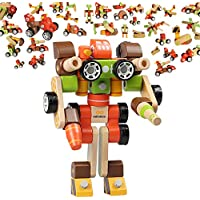 Building Blocks  Wooden Building Blocks infinitoo Wood Toy for Kids Toddlers over 3 Years Old   EducationalConstruction Blocks Assembled Wood Robots, Transformers, Cars, Airplanes DIY Toy Set   Perfect Holiday Brithday Gifts Playing at Home,Schools,Picnics,Daycare etc