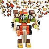 infinitoo Blocs de Construction en Bois Jeu de Blocs Construction Robots de Voiture Colorés| Jouets Educatifs et Créatifs pour les Enfants 3+ | Cadeau Idéal pour Apprentissage dans la Joie