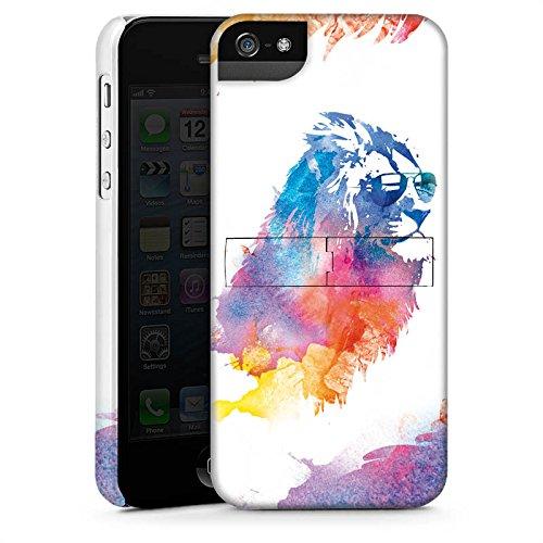 Apple iPhone 5s Housse Étui Protection Coque Lion Peinture à l'eau couleurs CasStandup blanc