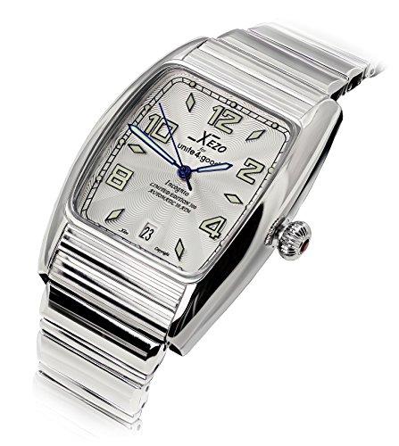 Xezo Incognito Herren Armbanduhr 10ATM wasserdicht Tonneau. 9015Miyota Automatik Uhrwerk. luxuriösen Finish. X-Large Armband (Omega-uhr 34)