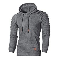 Mens Hoodies Toamen Clothes Sale Clearance Autumn Plaid Long Sleeve Loose Hooded Sweatshirt Top Blouse Tracksuits with Front Kangaroo Pocket (Dark Gray, 4XL)