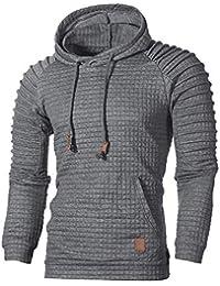 ☺Kapuzenpullover Herren Sweatshirt Hoodies mit Kapuzen Plaid Sweatjacke Top  Bluse Trainingsanzüge Sport Fitness Training Basic 431813f819