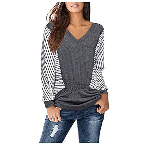 Xmiral Pullover Damen Streifen Patchwork Bluse Sweatshirt Lange Ärmel V-Ausschnitt T-Shirt Farbblock-Rüsche Langärmliger Hemdpullover(Grau,L)