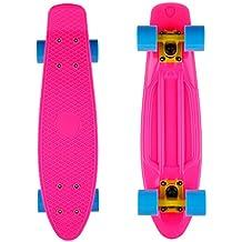 """Mini monopatín retro skateboard infantil de cuatro ruedas (Tabla de 22"""", Ruedas de PC de 60mm) (Rosa)  2"""