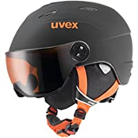 Uvex niños Junior Visor Pro–Casco de esquí, infantil, Junior Visor Pro, Black-Orange Mat