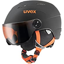 Uvex niños Junior Visor Pro – Casco de esquí, infantil, Junior Visor Pro, Black-Orange Mat