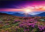 ADDFLOWER 3D lila Blume Mountain View Sonnenuntergang Wandbild Tapete Kunst Wandtattoo 3D gedruckte Foto Floral Wall Papers Rolle Kontaktpapier, 350X245 Cm (137.8 By 96.5 In)