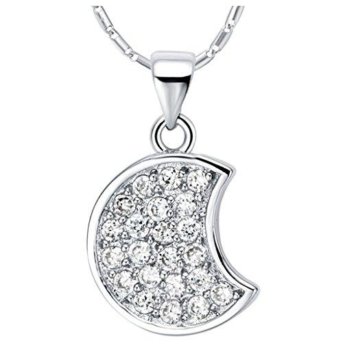 Placcato Oro Bianco Collana Donna Pendente Luna Argento Cristallo Austriaco CZ Da (Triangolo Due Orecchini Tono)