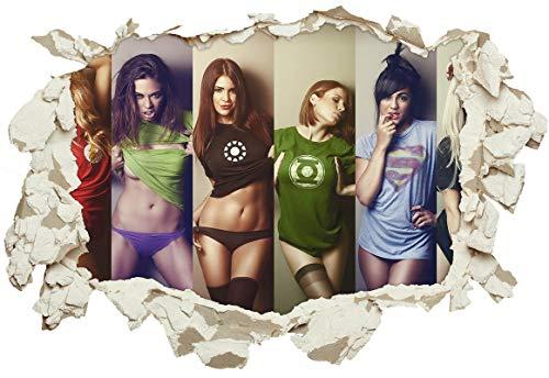 Unified Distribution Sexy Superhelden Comic Girls - Wandtattoo mit 3D Effekt, Aufkleber für Wände und Türen Größe: 92x61 cm, Stil: ()