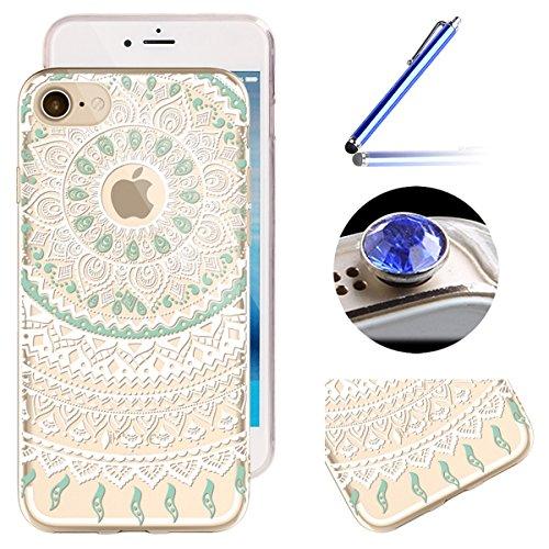 Etsue Glitter Silikon Case für iPhone 7 Plus (5.5 Zoll) 2016 TPU Case Schutzhülle, Glänzend Glitzer Sparkle Shiny Star Sterne Engel Mädchen Muster Silikon Crystal Case Clear Transparent Rückseite Schu Weiß Mandala