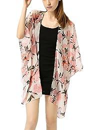 fb948cac14 Fashion Women Girls Chiffon Cardigan Fruit Printed Shawl Coats Kimono Beach  Cover up Blouse Bikini Cover