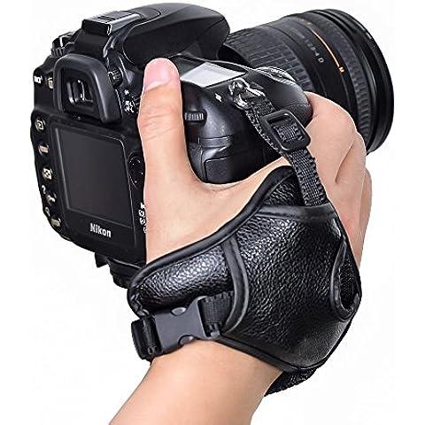 Gleading Cuero de la PU estabilizar ergonómico mano agarre correa muñequera para Nikon / Canon / Sony / Pentax / Minolta / Panasonic / Olympus / Kodak / SLR / cámaras digitales DSLR