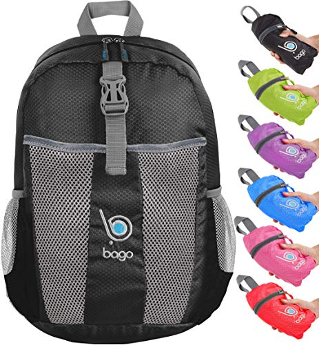 Faltbarer Rucksack für Männer Frauen Kinder Leichter Reiserucksack Tagesrucksack (BacPk-25-Black2018)