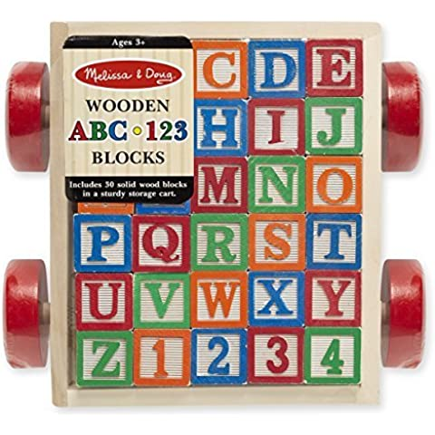 Solid Wood ABC Blocks in Cart -