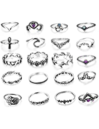Milacolato 20pcs Vintage Knuckle Ring Set for Women Girls Stackable Rings Set Hollow Carved Flowers