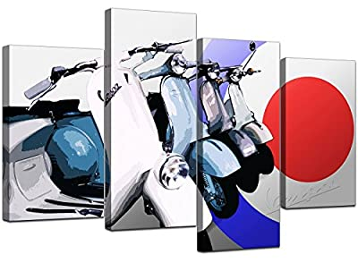 Large Scooter Canvas Mod Soul Wall Art Pictures Set XL Prints 4149